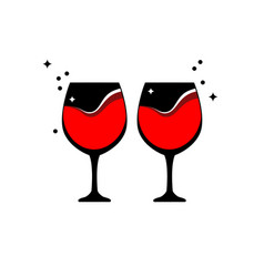 Two full glasses of red wine wine glass symbol vector