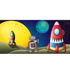two spaceships and a robot in outer space vector image