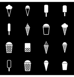 White ice cream icon set vector