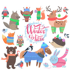 winter is here poster animals vector image