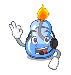 With headphone alcohol burner mascot cartoon vector