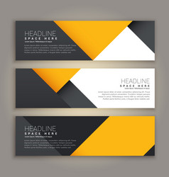 Yellow and black minimal style set of web banners vector