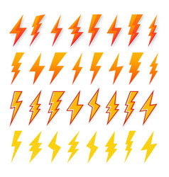 Yellow and orange lightning bolt icons isolated vector