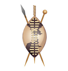 Zulu shield ethnic african weapon club and spear vector