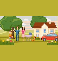 Family horizontal banner garden cartoon style vector