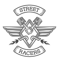 Auto emblem sign the racing theme vector