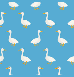blue cute geese seamless pattern vector image