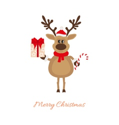 christmas reindeer with gift and caramel cane vector image vector image - Christmas Reindeer