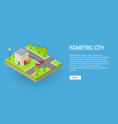 isometric icon of two storey grocery shop web vector image vector image