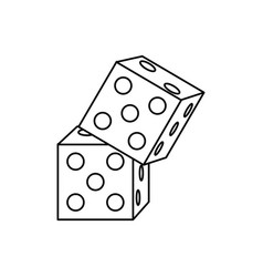 rolling dices casino game dot object vector image