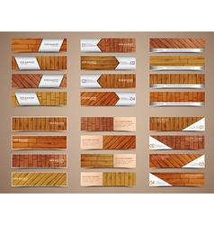 set of wooden web banners vector image