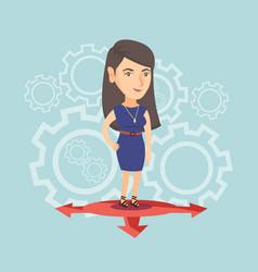 Young caucasian woman choosing career way vector