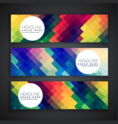 Amazing set of three banners in colorful abstract vector