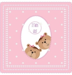 Greeting card with teddy bears and flowers vector image vector image