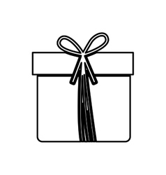 monochrome contour with giftbox with ribbon vector image vector image