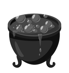 Witch cauldron icon gray monochrome style vector image