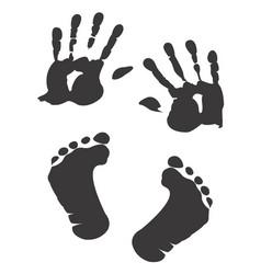children s handprint and footprint vector image vector image