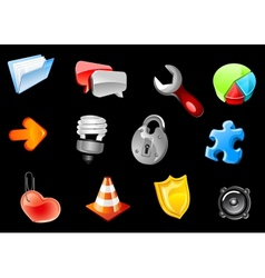 Glossy icons for web design vector image vector image