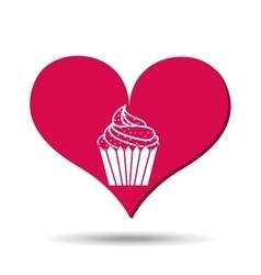 heart red cartoon silhouette cupcake icon design vector image