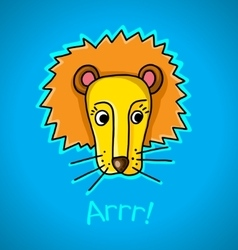 lion on a blue background vector image