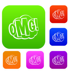 omg comic text speech bubble set color collection vector image vector image