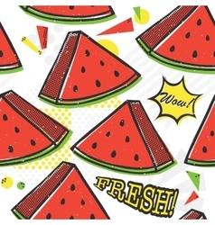 Pop art style watermelon seamless pattern vector image