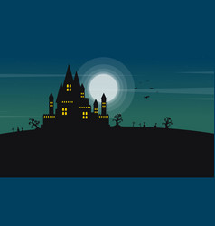 Silhouette of castle and moon halloween landscape vector