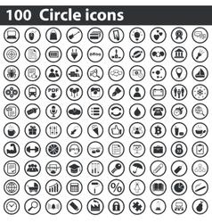 100 circle icons set vector