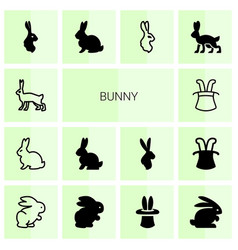 14 bunny icons vector image