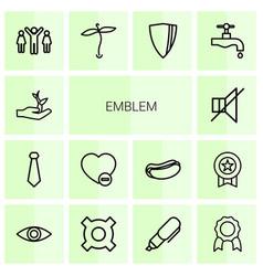 14 emblem icons vector image
