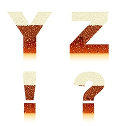 alphabet dark beer yz vector image