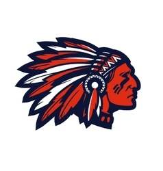 American native chief head mascot logo or vector image