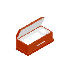 An open coffin isometric 3d icon vector image