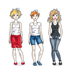 attractive young women posing wearing casual vector image