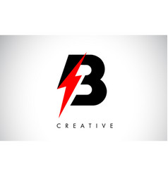 B letter logo design with lighting thunder bolt vector