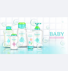 Baby care products with kid design bathroom banner vector