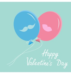 balloons with mustache and lips Valentines Day vector image
