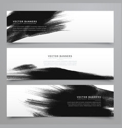 black ink strokes banenrs and headers collection vector image