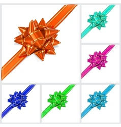 Bows of multicolored ribbons Located diagonally vector image