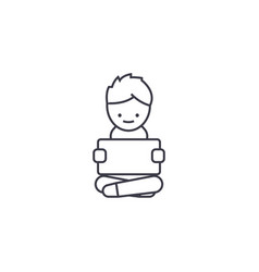 Boy with a tablet line icon sig vector