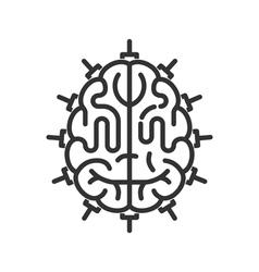 Brain-microchip line icon vector