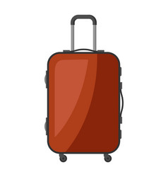 Brown plastic suitcase with wheels vector