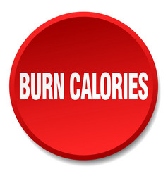 Burn calories red round flat isolated push button vector