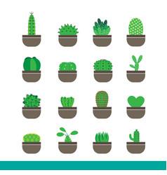 cactus color icon set vector image