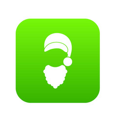 cap with pompon of santa claus and beard icon vector image