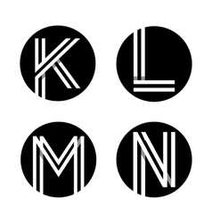 Capital letters K L M N In a black circle vector image