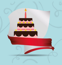 Card cake birthday ribbon vector