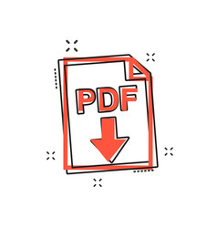 cartoon pdf icon in comic style pdf document vector image