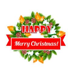 christmas greeting ribbon decoration icon vector image