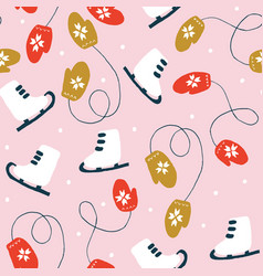 Christmas seamless pattern with skates and mittens vector